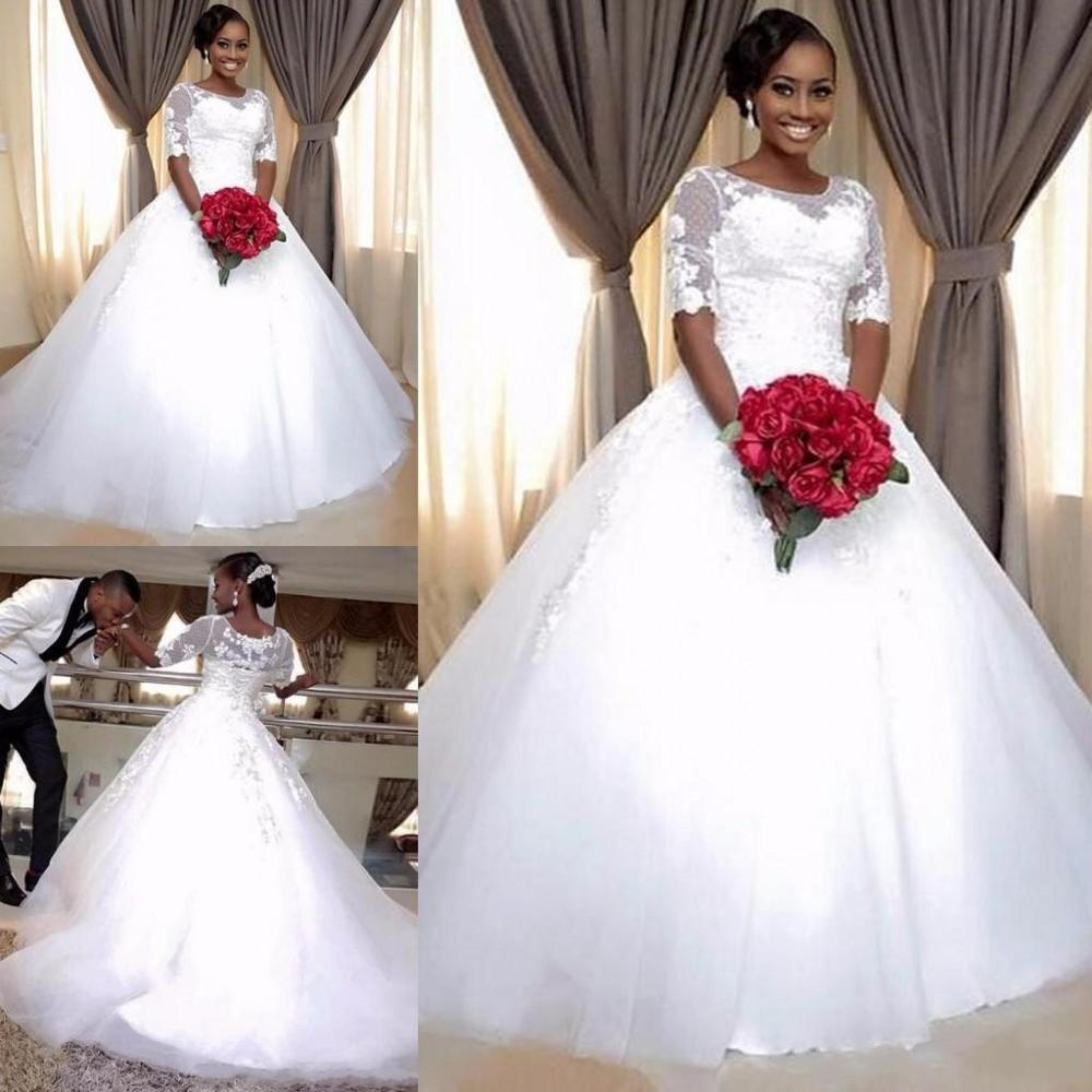 2020 Ball Gown Wedding Dress 3D Floral Appliques Sweep Train Gorgeous Design Bridal Gowns For Castle Wedding Custom Made