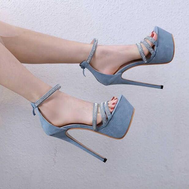 Trendy Zipper Stiletto Heels Women Sandals Bling Crystal Embellished Ankle Strap High Platform Gladiator Sandals Dress Shoes - 6