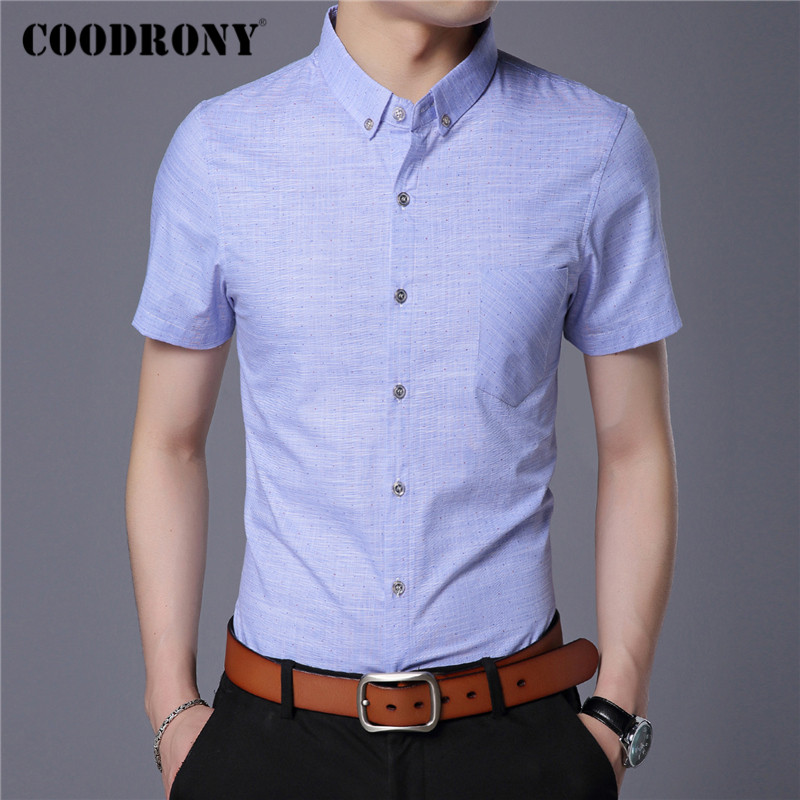 COODRONY Spring Summer Mens Shirts Slim Fit Short Sleeve Shirt Men Clothing Business Casual Camisa Masculina With Pocket C6002S