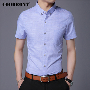 COODRONY Spring Summer Mens Shirts Slim Fit Short Sleeve Shirt Men Clothing Business Casual Camisa Masculina With Pocket C6002S coodrony men shirt spring summer short sleeve casual shirts cotton fashion plaid camisa masculina with pocket mens dress c6008s