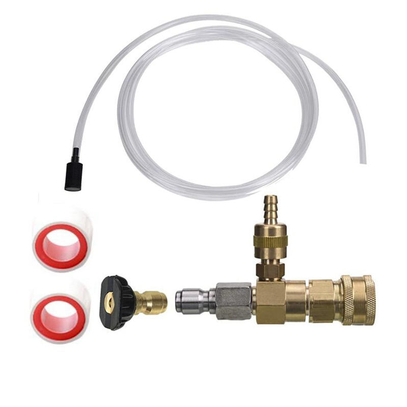 Adjustable Chemical Injector Kit,Soap Chemical Injector for Pressure Washer, 3/8 Inch Quick Connect