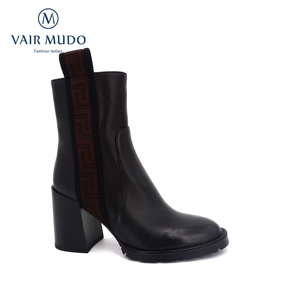 VAIR MUDO 2020 autumn ankle boots women's fashion sheepskin thick heel shoes plush high quality fur ladies high heels DX130