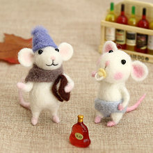 Jiwuoウールフェルトdiy手作り材料製袋人形の装飾品ペンダント小動物マウスウール動物針フェルトキット