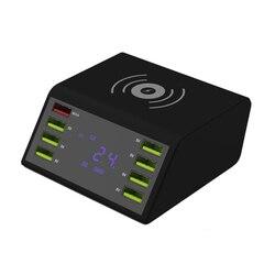Display lcd qc 3.0 estação carregador rápido 8 porto doca de carregamento com 10 w carregador sem fio para tablet móvel dispositivo inteligente