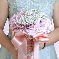Wedding Bouquet Pink Bridal Flowers Fake Bouquet Artificial Silk Rose Bride Bouquets Crystals Bouquet Flowers Bridal Wedding