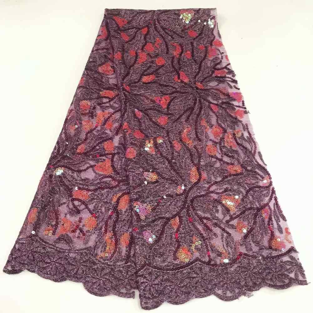 Nowy projekt afryki koronki materiał brokatowy 5 metrów cekiny francuski koronki tiul tkanina z cekinami do sukni ślubnej FFR914