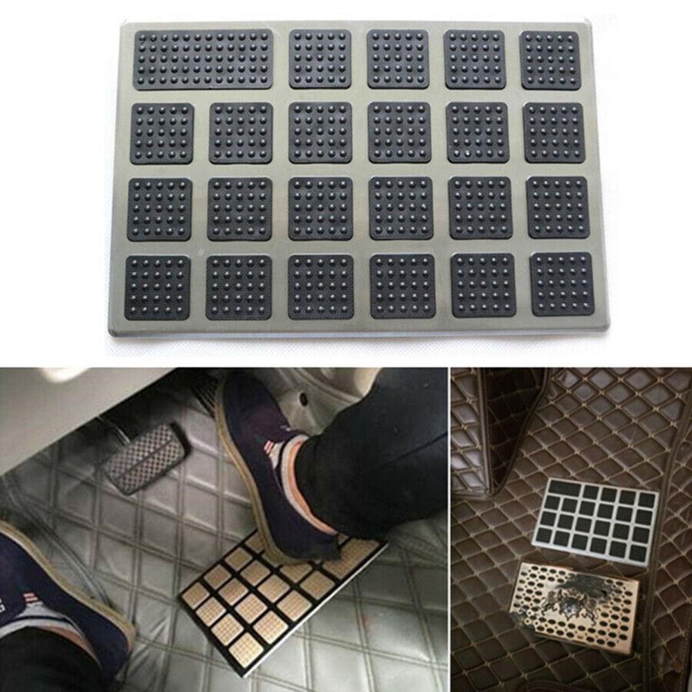 1PC Black PVC+Steel Car Floor Carpet Pad Foot Mat Heel Pedal Patch Cover 23x15cm Car Mat Wear Step