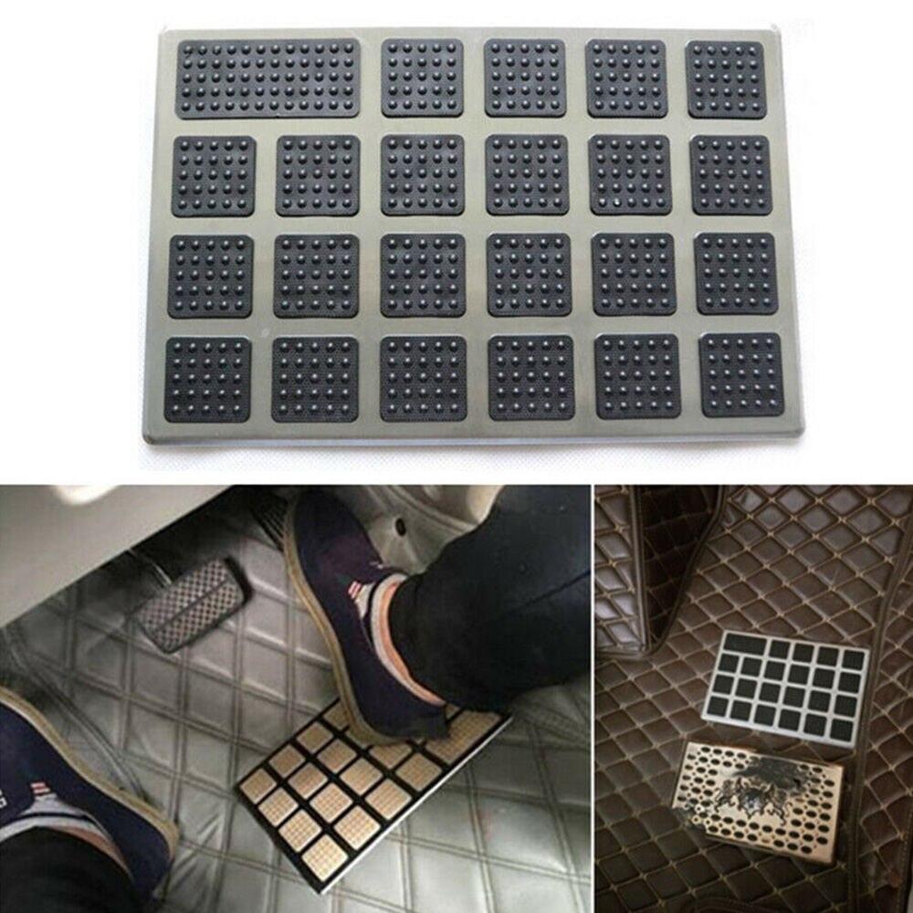 1PC czarny pvc + stali nierdzewnej dywan na podłogę wkładka do buta mata obcas pedał Patch pokrywa 23x15cm mata samochodowa nosić krok po kroku