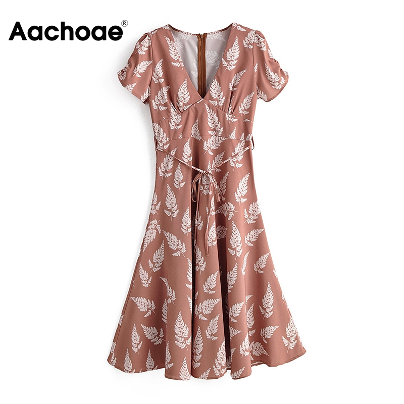 Aachoae Women V Neck Floral Print Dress Short Sleeve Pleated Dress With Belt Back Zipper Holiday Beach Dress Female Vestidos