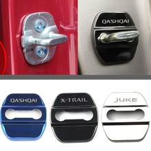 For Nissan JUKE Qashqai J11 J10 X-TRAIL NOTE TIIDA NISMO Car Door lock Cover Protective 4pcs Stainless Steel Sticker Car-Styling new 5pcs nismo motorsport car decoration car sticker decal for nismo nissan qashqai juke x trail tiida teana car styling