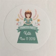 100 Pieces Custom Princess Sticker Personalized Girl Birthday Gift Adheive Seals Decoration Round Labels