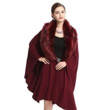 Women Furry Cape Coat Jacket Faux Fur Wrap Poncho Shawl Winter Collar Bat Sleeved Fashion