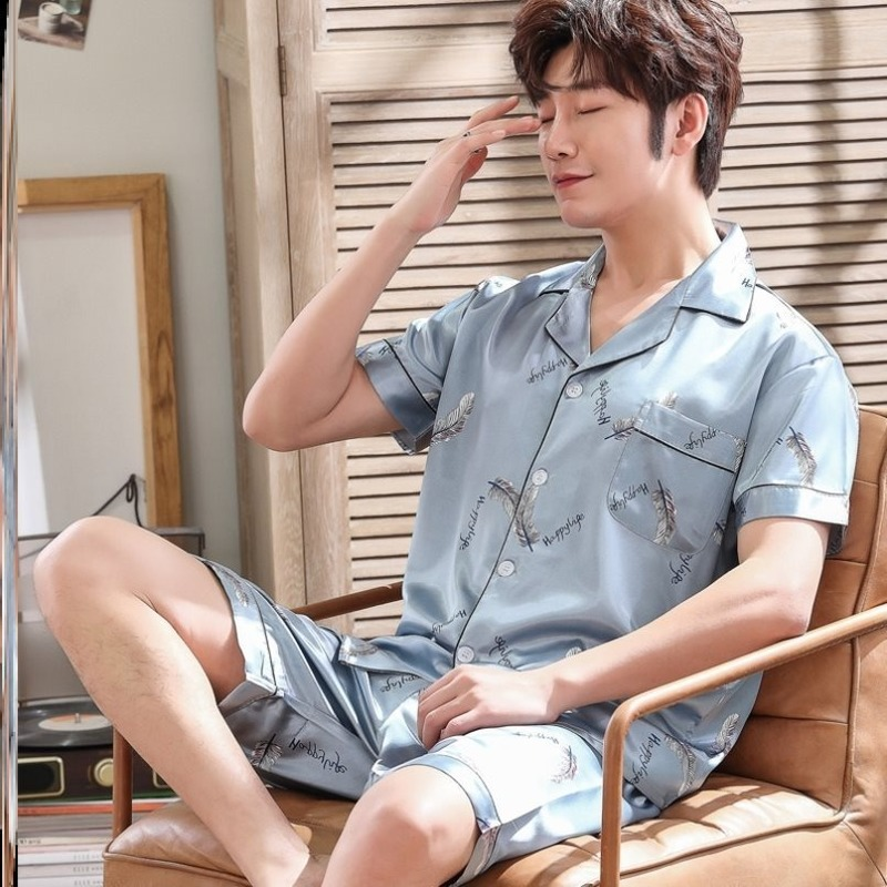 Пижамы мужчины Весна Лето Осень мужчины в атлас шелк пижамы наборы футболка шорты печать кнопки мужской пижамы пижама закрытие