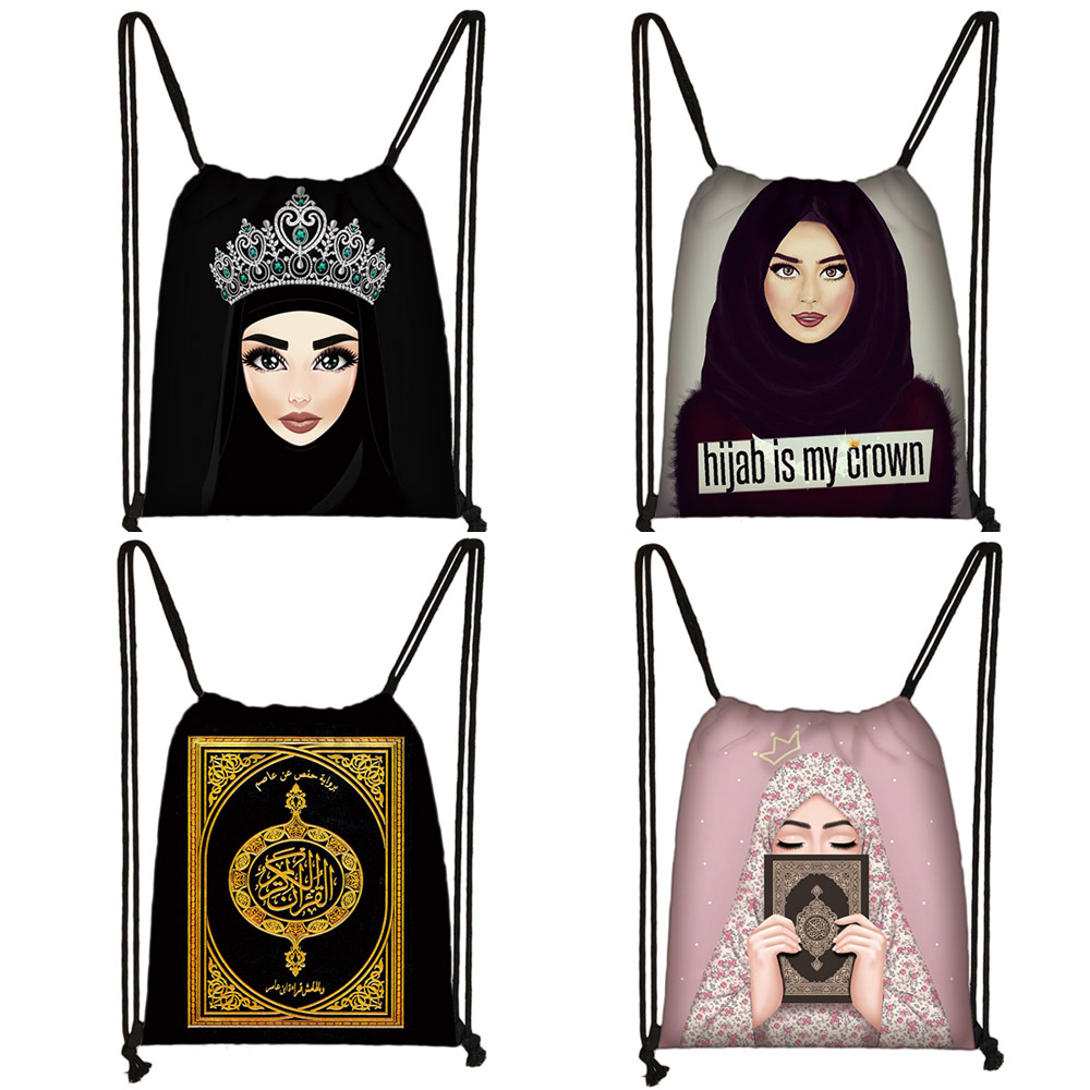 Hijab Face Muslim Islamic Gril Eyes Drawstring Bag Women Fashion Storage Bag Shopping Bag Teenager Girls Bookbag Casual Backpack