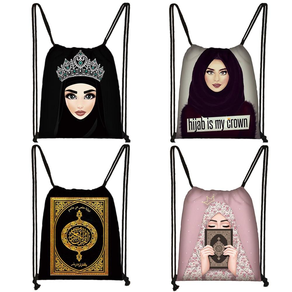 Hijab Face Muslim Islamic Gril Eyes Drawstring Bag Women Fashion Storage Bag Shopping Bag Teenager Girls Bookbag Casual Backpack