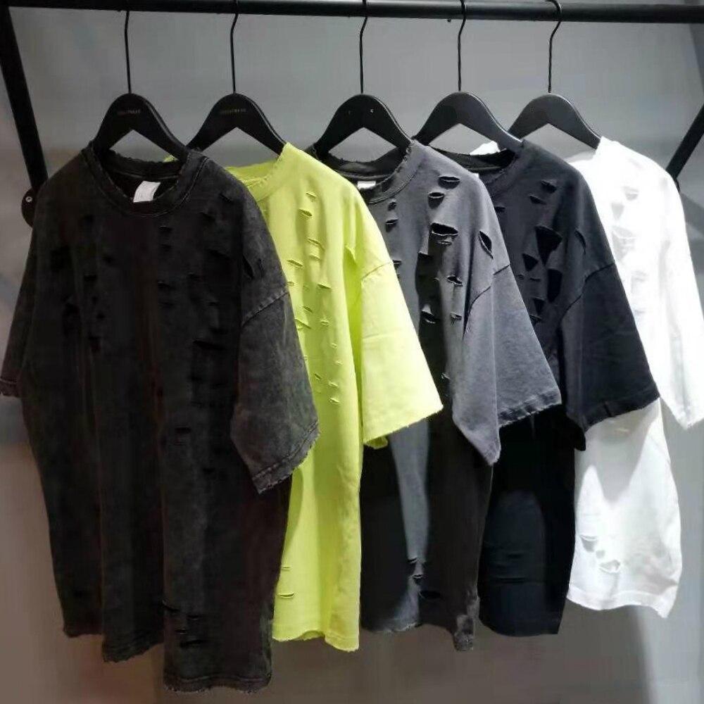Distressing Black Ripped T-shirt Hip Hop Relaxed Short Sleeve Cotton Tee Streetwear