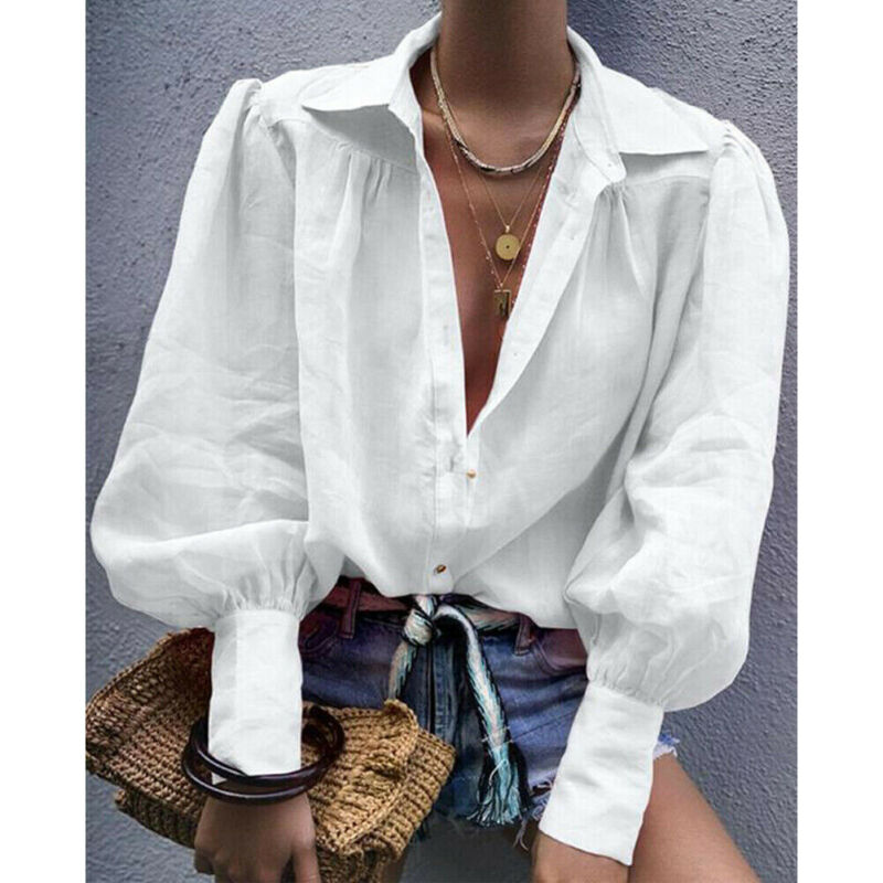 Women's Chic Vogue Blouse Long Lantern Sleeve Loose Button-Down Collar Tops Shirt Solid White Fashion OL High Street Blouses