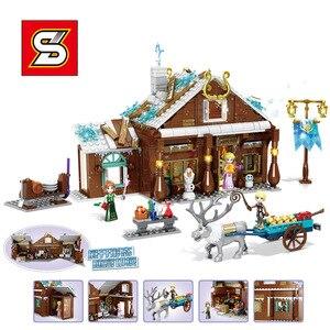 Image 2 - Amigas SY1429 SY1430 SY1431 SY6580 Castillo de la princesa de la nieve Anna Olaf City, tienda de comestibles, bloques de construcción de ladrillos, regalos para niños