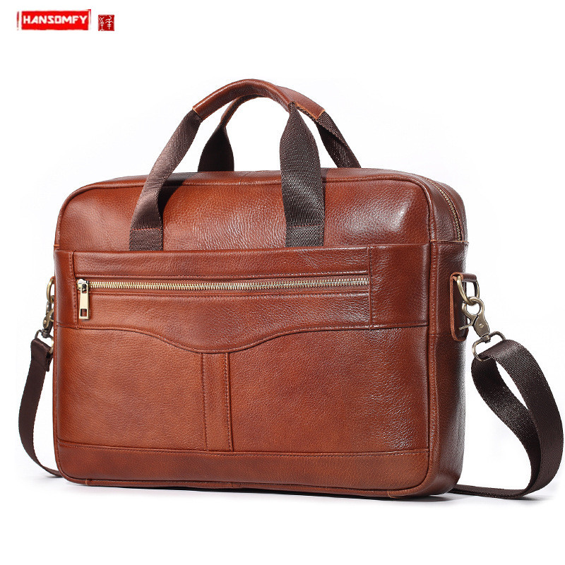 Business Leather Men's Briefcase Cowhide Handbag Men Laptop Bag Shoulder Messenger Bag Casual Multifunctional Travel Bags Male