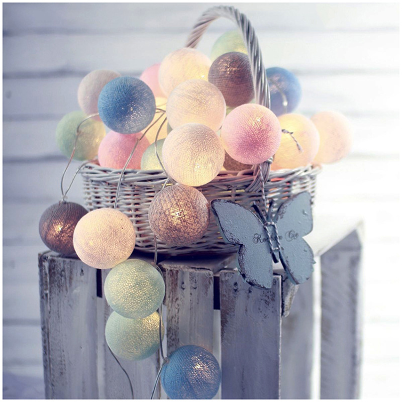 Garland LED Cotton Balls String Lights Outdoor Cotton Ball Light Holiday Wedding Christmas Party Bedroom Fairy Lights Decoration