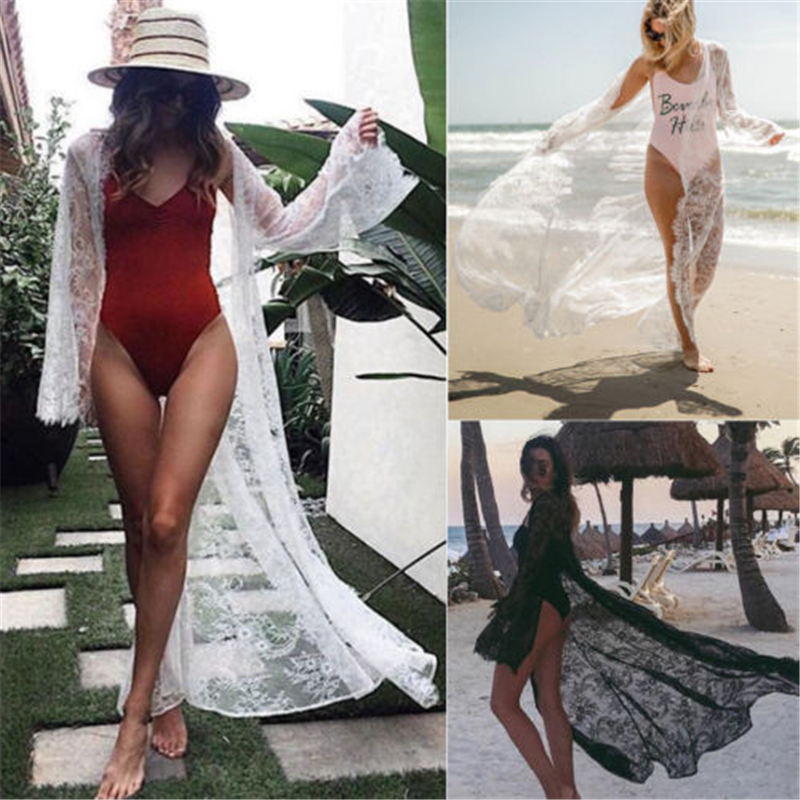 Sexy Lace Crochet Women Beach Bikini Cover Up Long Maxi Dress Hollow Out Loose Robe Sarong Kaftan Swimsuit Beach Wear