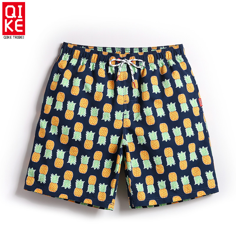 Qike Quick-Dry Beach Pants Men's 2018 Korean Version Of The  Of Men's Casual Shorts With Lined Beach Casual Knee-Length Shorts