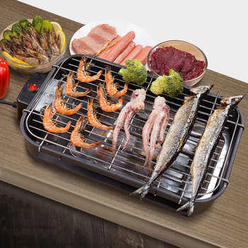 Electric BBQ Grill Stainless Steel Smokeless Barbecue Machine Home Kitchen Non Stick Barbecue Griddle Baking Pan commercial electric grill barbecue kitchen bbq grill counter electrical stainless steel griddle churrasqueira eletrica eg 818b