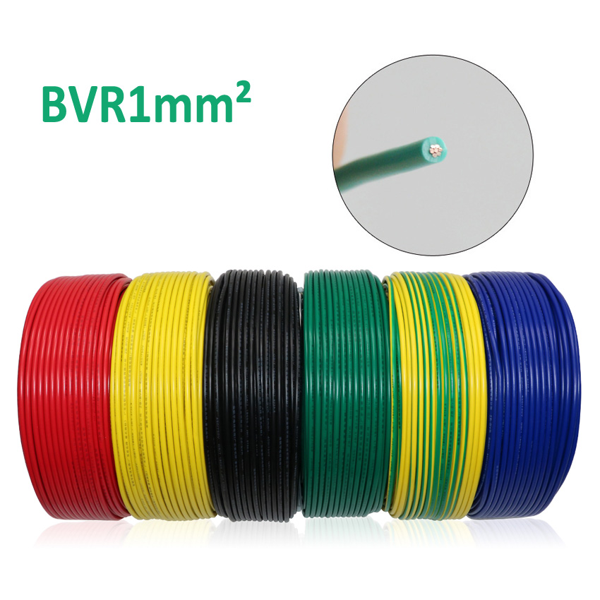 1m / lot BVR <font><b>1mm</b></font> square multi-strand cord oxygen-free copper wire bvr1 mm 1 mm flame retardant green anaerobic pure copper <font><b>cable</b></font> image