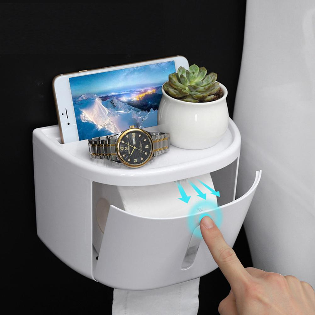 Roll Toilet Paper Holder Waterproof Plastic Tissue Holder Wall Mount Bathroom Paper Organizer Holder Rack Free Shipping