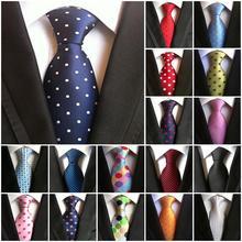 23 стиля моды горошек красные галстуки для мужчин 8 см шелковый галстук синий черный Одноцветный жаккардовый тканый бизнес Свадебные Галстуки