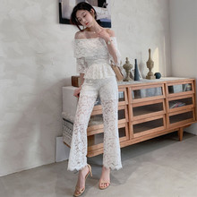 Slash Neck Flare Half Sleeve Blouse and Wide Leg Pants 2 Piece Set Pink White Ladies Autumn Winter Sexy Two for Women