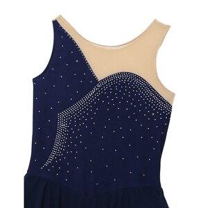 Image 4 - Tiaobug Donne Senza Maniche Shiny Strass Maglia di Pattinaggio di Figura Vestito di Ginnastica Body Balletto di Danza Usura di Prestazione Del Costume