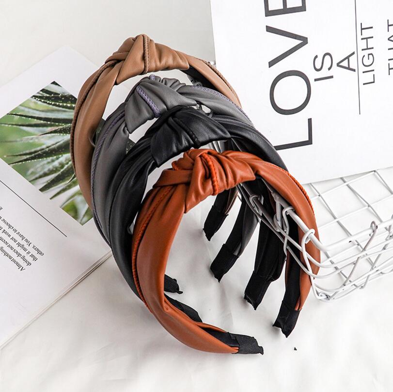 Moda damska łuk węzeł Hairband skórzany Hoop PU krzyżowy węzeł głowa kobiety Hoop Glitter dziewczyny opaskę do włosów akcesoria do włosów DSFG02