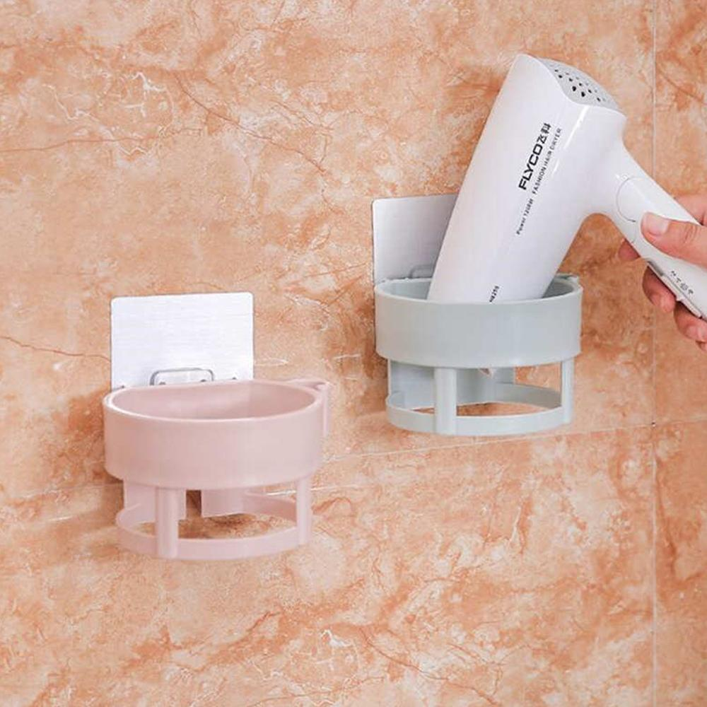 Wall-mounted Hair Dryer Holder ABS Bathroom Shelf Storage Hairdryer Holder Hairdryer Rack Organizer