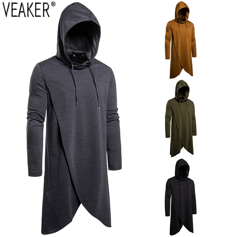 2019 Autumn New Men's Long Mantle Hoodies Cloak Male Solid Color Hooded Sweatshirt Outerwear Men Loose Long Hoodies S-2XL