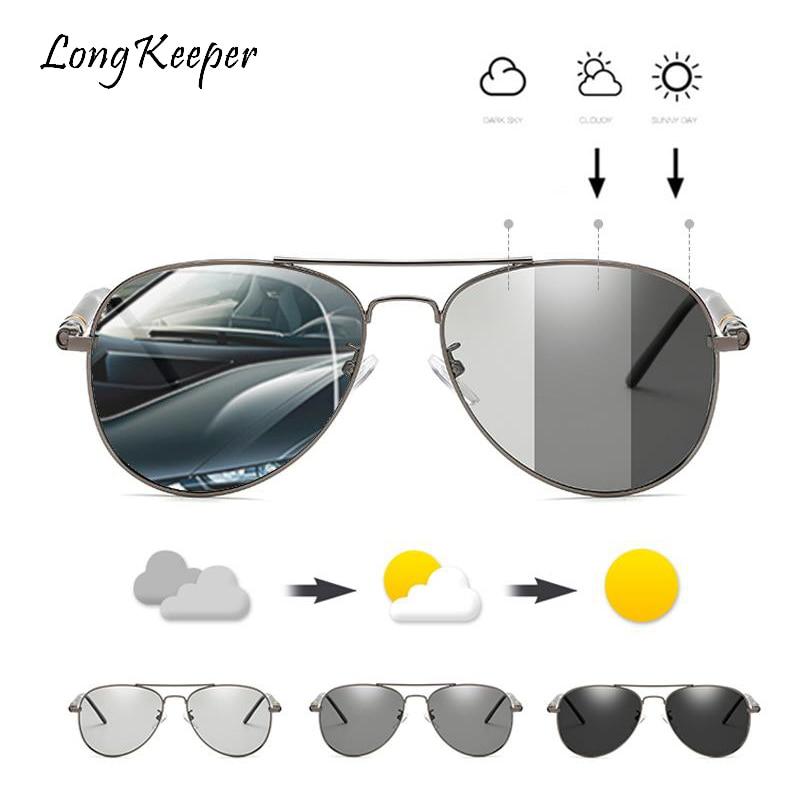 LongKeeper Classic Men Sunglasses Photochromic Sun Glasses Goggles Male Driving Pilot Polarized Eyewear UV400 Gafas de sol