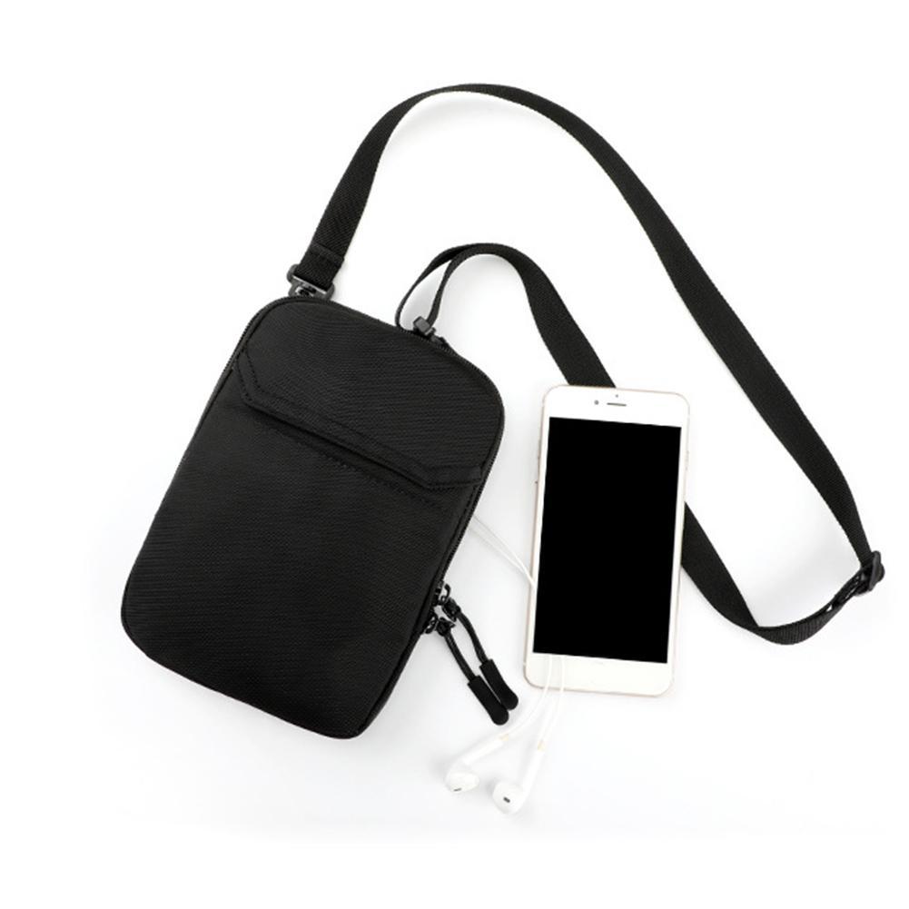 Casual Men Mini Solid Color Double Zippers Shoulder Bag Crossbody Phone Pouch Crossbody Bags For Men Messenger Bag Sling Bag