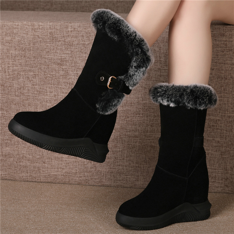 Fashion Sneakers Women Genuine Leather Wedges High Heel Snow Boots Female Warm Rabbit Fur Pumps Shoes High Top Winter Creepers
