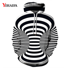 2019 Newest Mens Womens 3D Hoodies Black White Hypnotic Vortex Sweatshirt Graphic Pullover Tracksuit Couples Tops