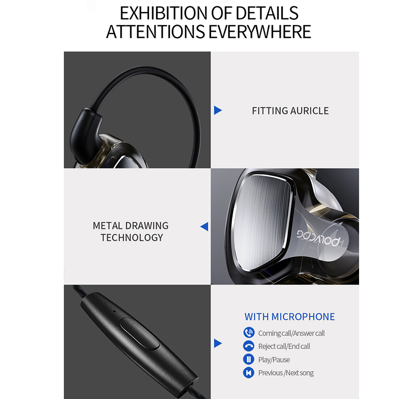 POLVCDG Black In ear Mic 3 5mm HiFi Noise Reduction D6 Earbuds With Wheat Line Control Sub Woofer Earphones in Phone Earphones Headphones from Consumer Electronics