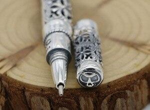 Image 4 - الفضة النقية اللون الاسترليني 925 الفضة اللون قلم هدية للرجال خمر منحوتة مخرمة الأعمال قلم حبر جاف قلادة مجوهرات
