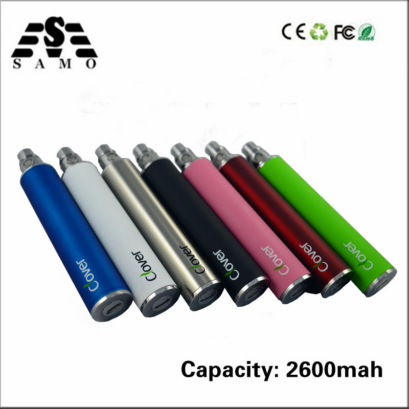 Electronic Cigarette Battery Clover 2600mAh USB Passthrough E Cigarette Battery Clover Root 510 Thread VS Ego-t Battery