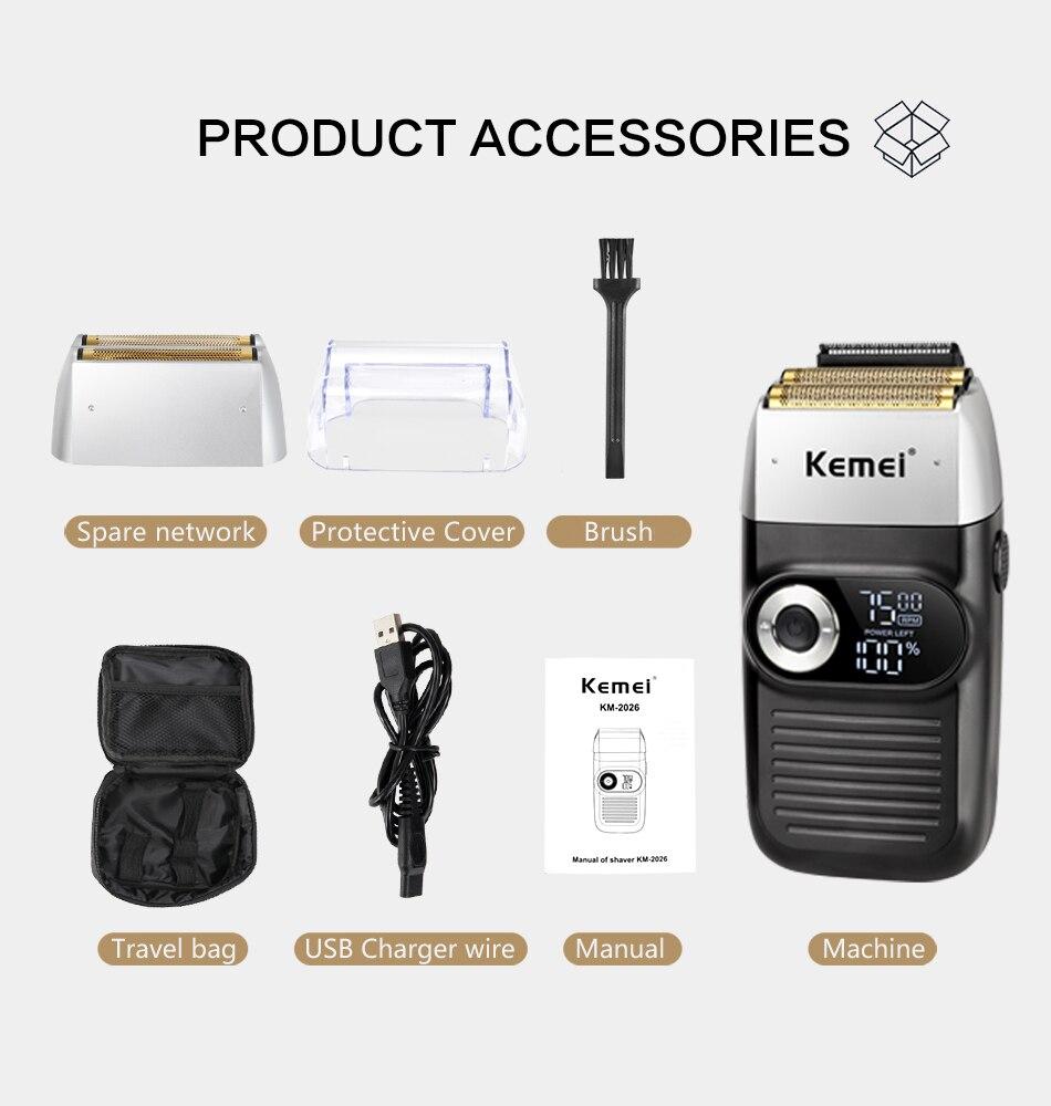 Máquina de barbear elétrica profissional kemei máquina