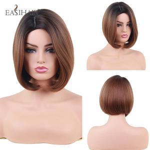 Image 1 - EASIHAIR peruka z krótkim bobem dla kobiet włosy syntetyczne przedziałek z boku żaroodporne Ombre peruki wysokiej temperatury włókna Glueless peruka z prostymi włosami