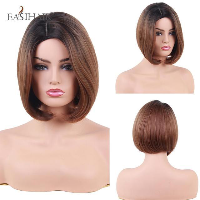 EASIHAIR peruka z krótkim bobem dla kobiet włosy syntetyczne przedziałek z boku żaroodporne Ombre peruki wysokiej temperatury włókna Glueless peruka z prostymi włosami