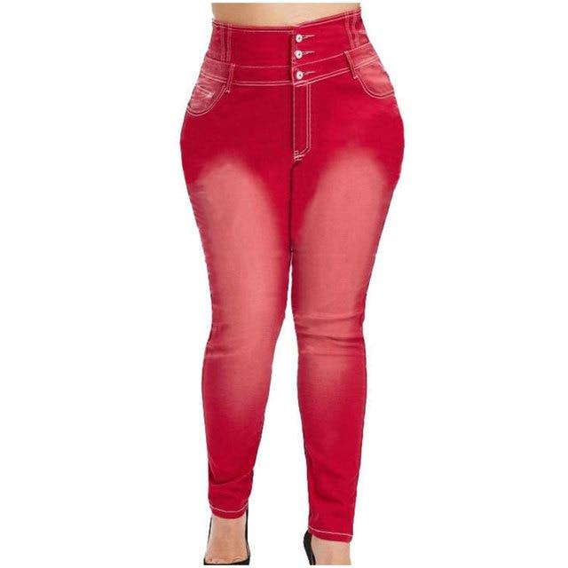Pantalones vaqueros de talla grande abotonada para mujer, Vaqueros largos ajustados en negro y gris, de cintura alta, 4XL, 5XL, para primavera 5