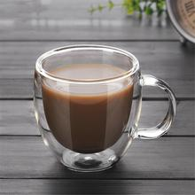 Double-layer Glass Heat Resistant with Handle Coffee Cup High Borosilicate Transparent Glass Cup Kitchen Tool 250ml375ml475mldouble glass high borosilicate transparent creative cup tropical resistant coffee cups custom made logo cups