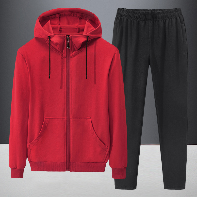 Quality Tracksuit Men 2020 Autumn Sportwear Fashion Mens Hip Hop Set 2PC Zipper Hooded Sweatshirt Jacket+Pant Suit Plus Size 8XL