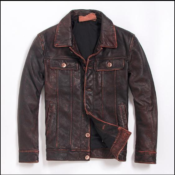 Free Shipping.Brand New Mens Plus Size Genuine Leather Jacket.classic Vintage Style Cowhide Coat.quality Cowboy Slim Clothes