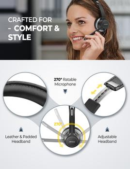 Mpow BH328 Office Headset Lightweight 3.5mm USB Computer Headset Noise Reduction Headphone for Call Center Skype PC Cellphone 5